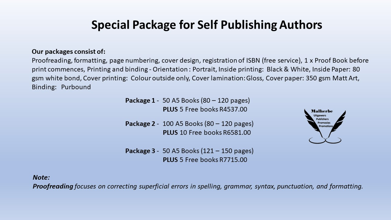 Printing packages for self publishing